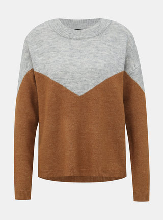 Šedo-hnedý sveter VERO MODA Rana
