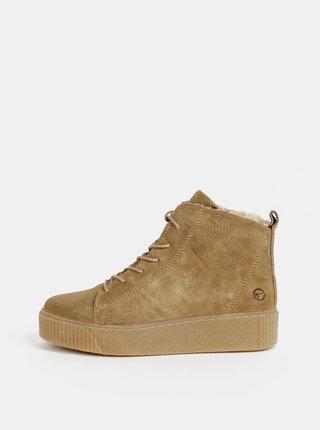 Béžové semišové zimné členkové topánky Tamaris