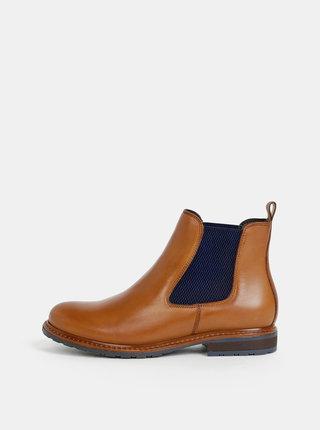 Hnedé dámske kožené chelsea topánky Tamaris