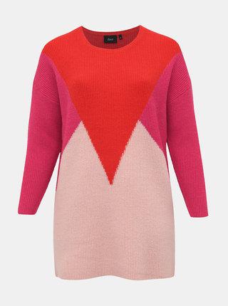 Červeno-růžový svetr s příměsí vlny Zizzi Alice