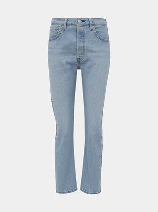 Světle modré dámské zkrácené straight fit džíny s lampasem Levi's® 501