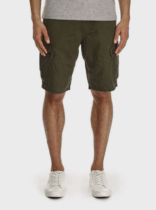 Kaki kraťasy s vreckami na nohaviciach Burton Menswear London