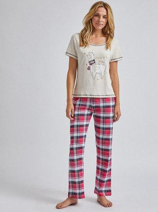 Červeno-béžové kostkované dvoudílné pyžamo Dorothy Perkins