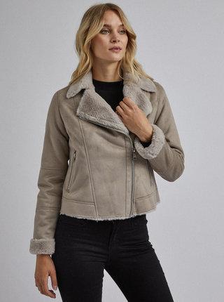 Béžová zimná bunda v semišovej úprave s umelým kožúškom Dorothy Perkins