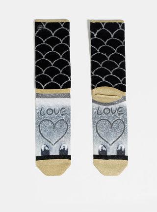 Šedo-čierne dámske ponožky XPOOOS