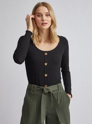 Černé žebrované tričko Dorothy Perkins