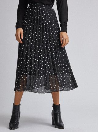 Čierna bodkovaná plisovaná midi sukňa Dorothy Perkins