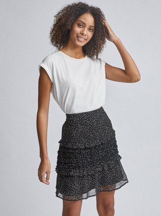Čierna vzorovaná sukňa s volánmi Dorothy Perkins