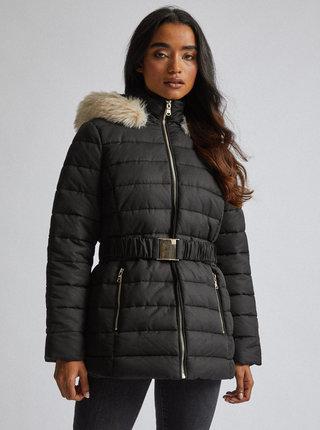 Černá vzorovaná prošívaná zimní bunda Dorothy Perkins Petite