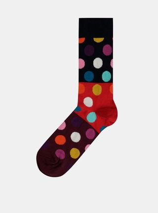 Vínovo-modré puntíkované ponožky Happy Socks Big Dot