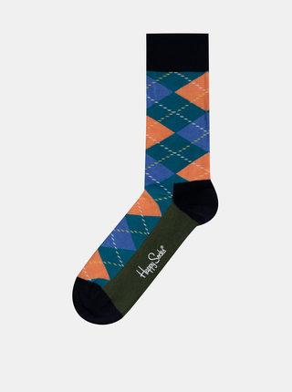 Modré pánske kockované ponožky Happy Socks Argyle