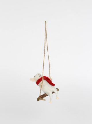 Bílá vánoční dekorace ve tvaru myši na houpačce Sass & Belle Swinging Mouse