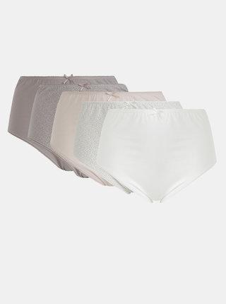 Sada piatich nohavičiek v bielej, rúžovej a svetlofialovej farbe M&Co