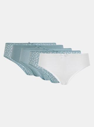 Sada piatich vzorovaných nohavičiek v modrej a bielej farbe  M&Co