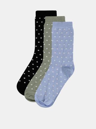 Sada troch párov bodkovaných ponožiek v svetlomodrej, kaki a čiernej farbe M&Co