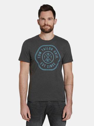 Tmavě šedé pánské tričko s potiskem Tom Tailor Denim