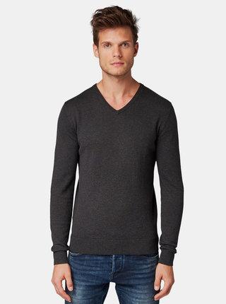 Tmavošedý pánsky basic sveter Tom Tailor Denim