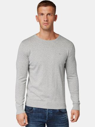 Šedý pánsky basic sveter Tom Tailor