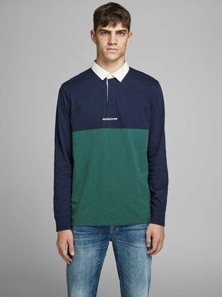 Zeleno-modré polo tričko Jack & Jones Rugby