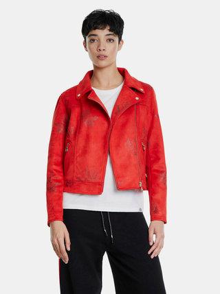 Červená kvetovaná bunda v semišovej úprave Desigual