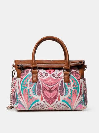 Hnedo-ružová vzorovaná kabelka Desigual
