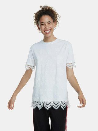 Biele vzorované tričko s krajkou Desigual