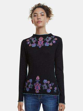 Čierne rebrované vzorované tričko Desigual