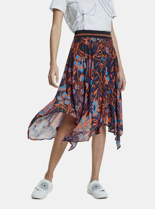 Tmavomodrá kvetovaná sukňa Desigual