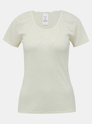 Krémové vzorované termo tričko M&Co