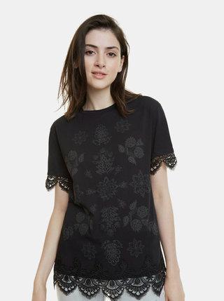 Čierne vzorované tričko s krajkou Desigual