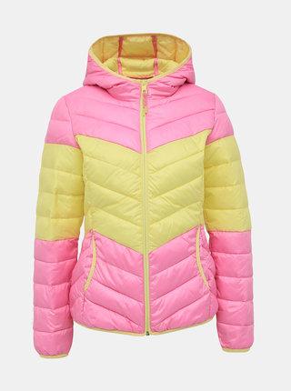 Žluto-růžová dámská prošívaná bunda Tom Tailor Denim