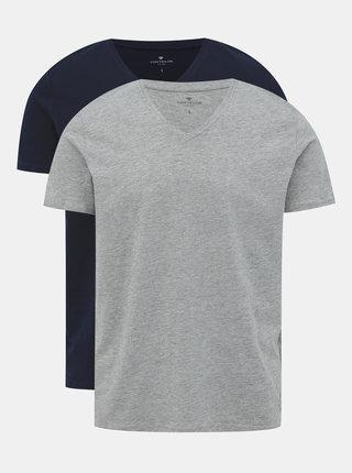 Sada dvoch pánskych tričiek v šedej a tmavomodrej farbe Tom Tailor