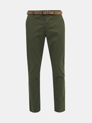 Tmavozelené pánske vzorované chino nohavice Tom Tailor Denim