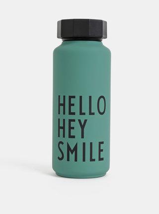 Zelená termolahev Design Letters Hello Hey Smile 500 ml