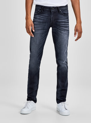Tmavomodré slim fit rifle s vyšúchaným efektom Jack & Jones Glenn