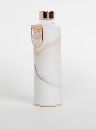 Sklenená fľaša na vodu v ružovo-bielom obale EQUA Mismatch Lava