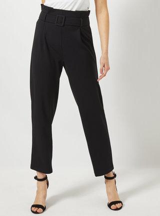 Čierne skrátené nohavice s vysokým pásom Dorothy Perkins