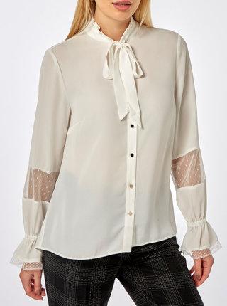 Bluza alba cu snur la gat si detalii din dantela Dorothy Perkins