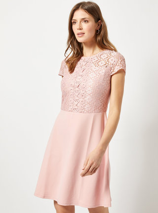 Ružové šaty s čipkou Dorothy Perkins