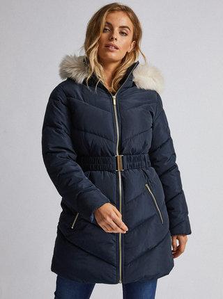Tmavě modrý prošívaný zimní kabát Dorothy Perkins Petite