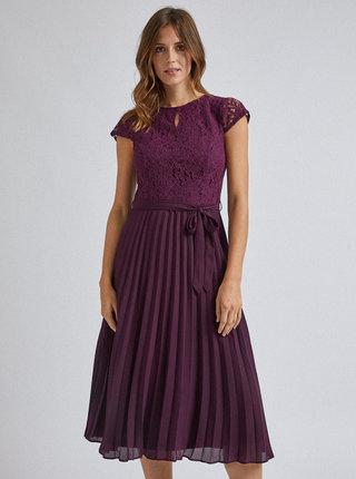 Fialové midišaty s plisovanou sukní a průstřihem v dekoltu Dorothy Perkins