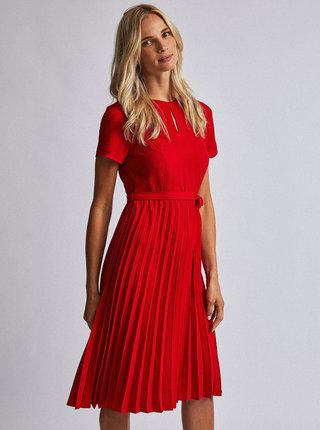 Červené midi šaty s plisovanou sukní Dorothy Perkins