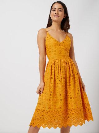 Horčicové šaty na ramienka s madeirou Dorothy Perkins Petite
