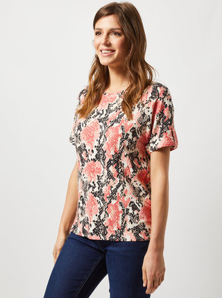 Koralové tričko s hadím vzorom Dorothy Perkins