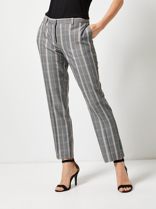 Pantaloni gri in carouri straight Dorothy Perkins