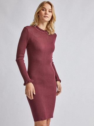 Vínové svetrové šaty Dorothy Perkins
