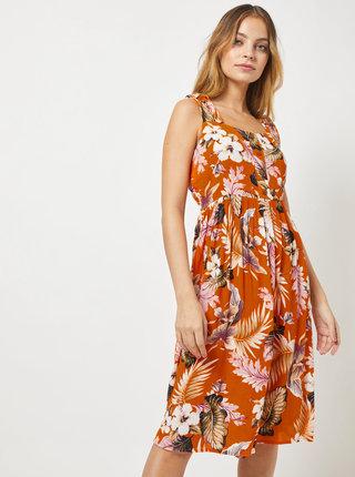 Oranžové kvetované šaty na ramienka Dorothy Perkins Petite
