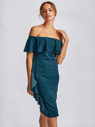 Petrolejové púzdrové šaty s odhalenými ramenami Dorothy Perkins