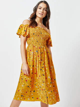 Horčicové kvetované šaty s odhalenými ramenami Dorothy Perkins Petite
