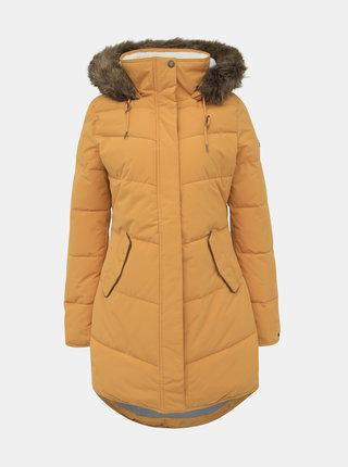 Horčicový zimný vodeodolný kabát Roxy Ellie